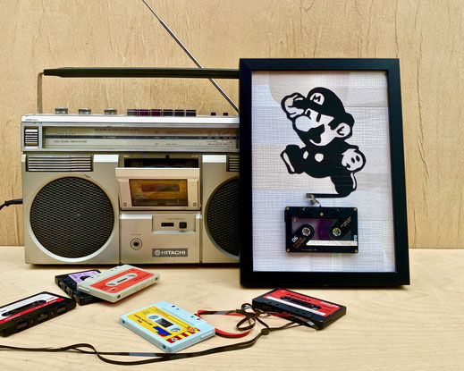 tape art, Bilder aus Kassettenband ,tapeart, streetart, urbanart, madeinosnabrueck