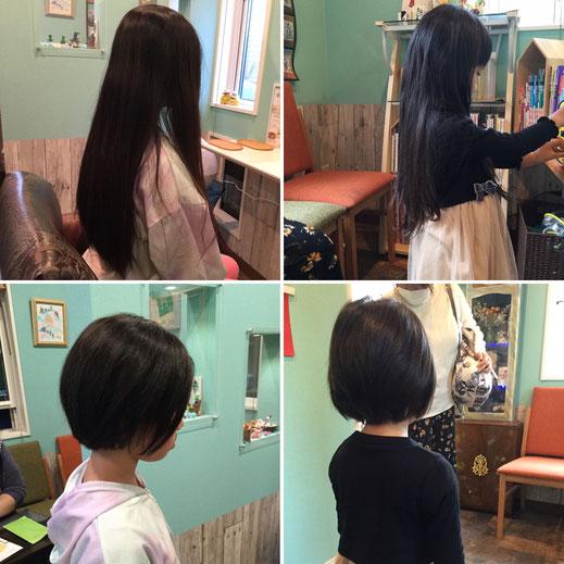 かわいいお子さんも髪の寄付に協力してくれてます。