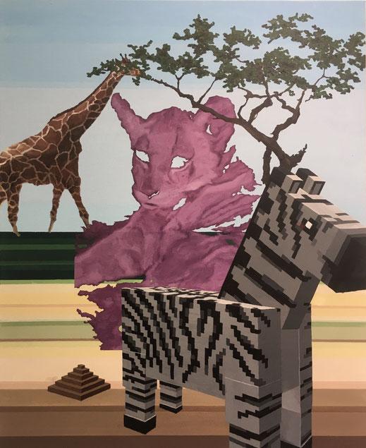 Savanne, 2020, Öl und Acryl auf Leinwand, 110x 90 cm