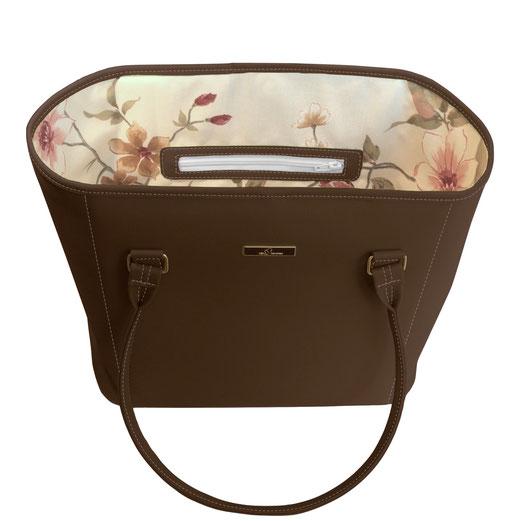 Damentasche, Shopper kastanienbraun, Blumeninnenfutter