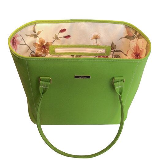 Damentasche, Shopper grün, Blumeninnenfutter