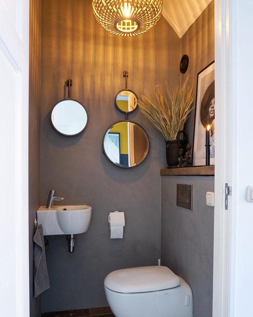 Beton cire toiletwand Grijs 60% - Beton cire Nederland