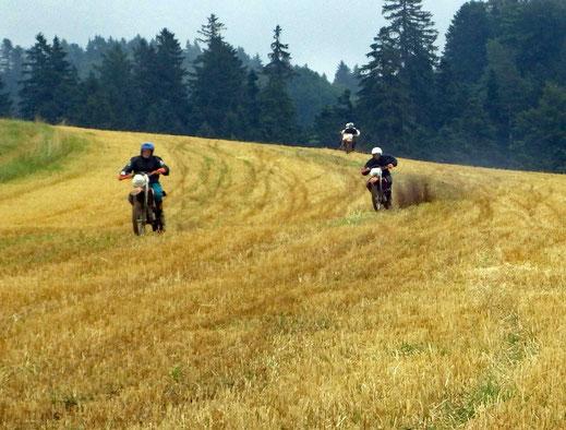 Motorradreisen Motocrossmaschinen auf dem Feld