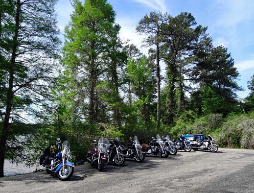 Motoglobe_Motorradreisen. Die Harley Davidson Motorräder stehen auf eine grossen Parkplatz beim Gantt Lake in Alabama, USA