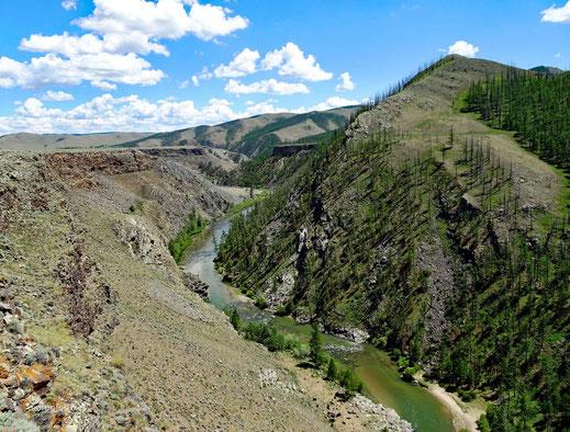 Die Chuluut Schlucht zieht sich kilometer weit durch die Landschaft
