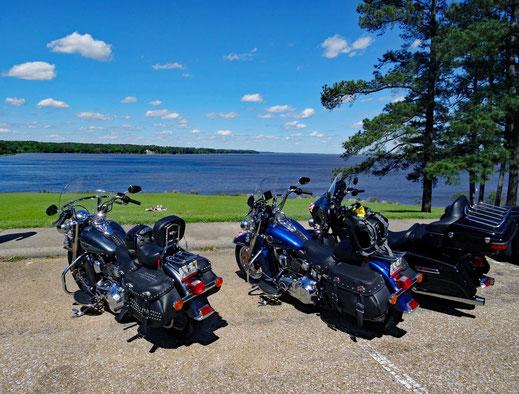 Motoglobe_Motorradreisen. Drei Harley Davidson Motorräder stehen auf einem Parkplatz und im Hintergrund in der Stausee Ross R. Barnett zu sehen
