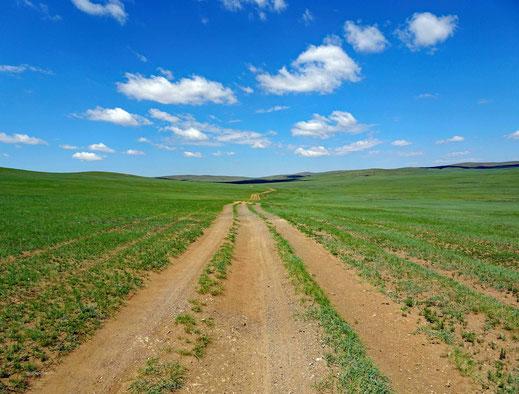Schotterstrasse, grüne Wiesen, blauer Himme, weisse Wolken