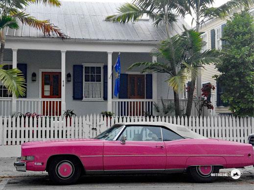 Rosarotes Auto, weisses Holzhaus, Veranda, Gartenhag, Palmen