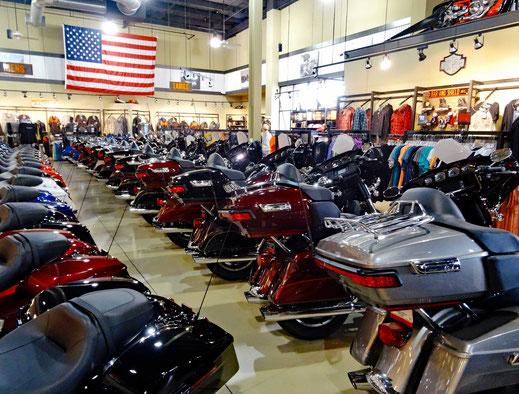 Motogolobe_Motorradreisen. Im Laden des Harley Davidson Händlers in Montgomery, USA, stehen duzende von Motorräder in einer Reihe und an der Wand gibt es diverse Kleidungsstücke zu kaufen.