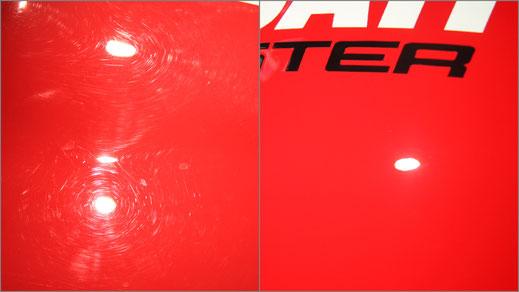 Kratzer polieren bei Ducati Monster