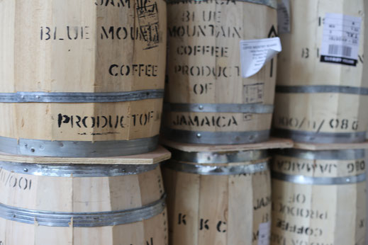 Wooden barrels with green bean coffee
