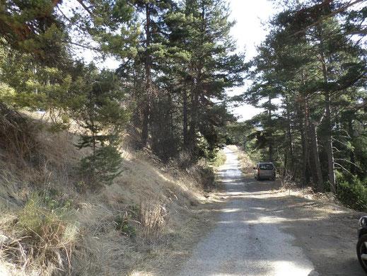 Stationnement sur la route de l'Adéchas sur les hauteurs de La Colmiane.