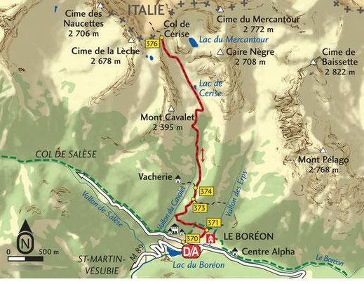 Carte de la montée au col de Cerise mais sans aller au lac du Mercantour
