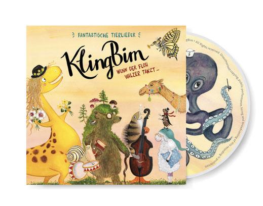 """KlingBim Kinderlieder CD """"Wenn der Floh Walzer tanzt... Fantastische Tierlieder"""", illustriert von Brigitte Baldrian"""