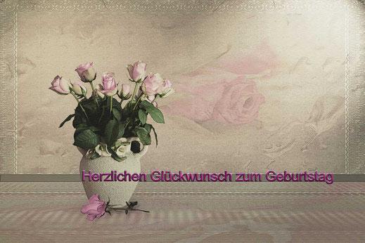 Rosafarbene Rosen in Bauernvase-Geburtstag - Grusskarte