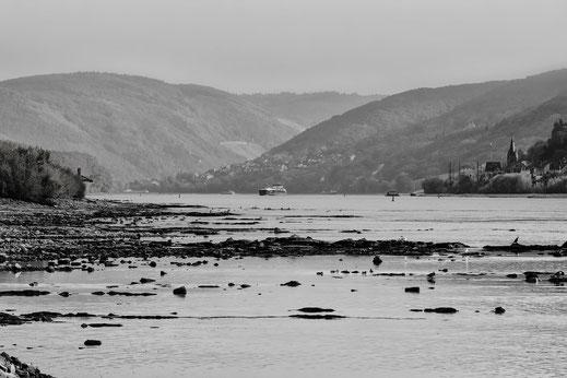Sanfte Hügellandschaft am Rhein mit Boot im Hintergrund, im Vorderrund sieht man die Steine, weil der Rhein Niedrigwasser führt. Foto in monochrome. Kostenlos und lizenfrei downloade bei mjpics.de
