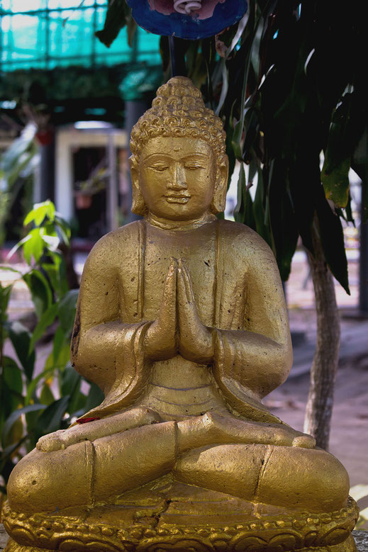 Sitzende goldfarbene betende Buddhafigur in einer Straße in Kuah ( Malaysia ) Fotos kostenlos downloaden bei www.mjpics.de