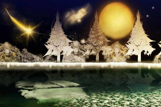 Composing Weihnachten mit zugefrorenem See und Sternenschweif