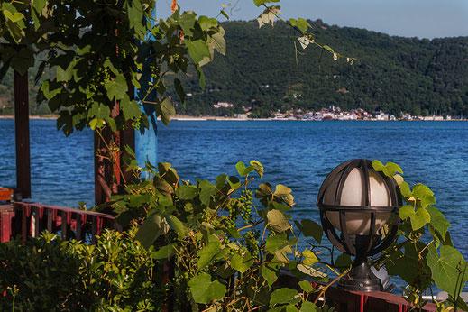 Blick auf das schwarze Meer in Istanbul-Außenbereich vom Restaurant mit Weinlaub geschmückt