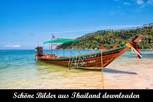 Longtailboat liegt am Strand von Koh Phangan - Reisefotografie Thailand