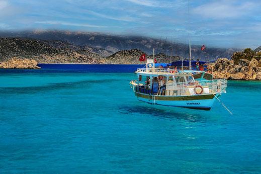 Boot in der Aquariumbucht in Kekova lykische Küste