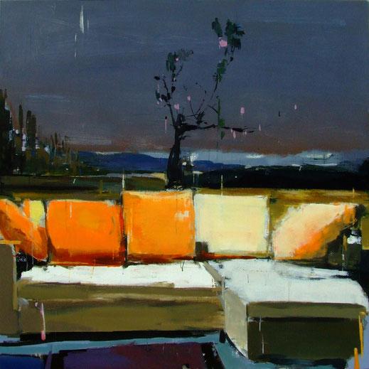Peach Blossom at home #3, 2011, Acryl auf Leinwand, 150 x 150 cm
