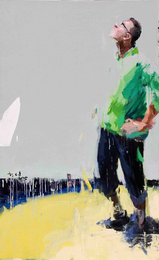 o. T. Green Series, 2015, Acryl auf Leinwand,  150 x 93 cm