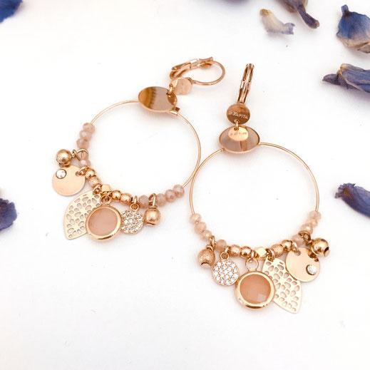 boucles d'oreilles noire gwapita belle grosse creole ronde breloque papille perles doré plaqué or bijoux earrings nude