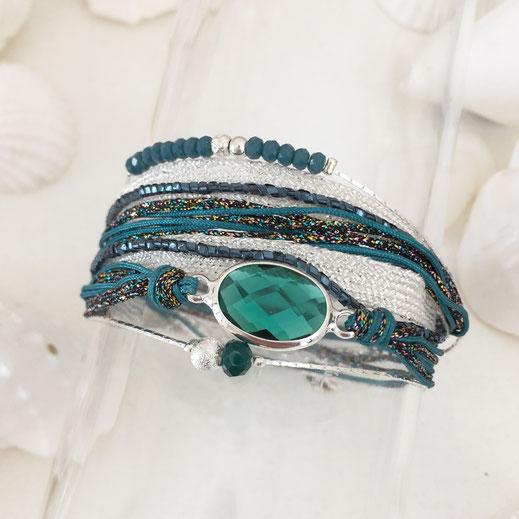 bracelet gwapita Paola multirangs argent vert argenté manchettes ruban perles chaines pierre ovale