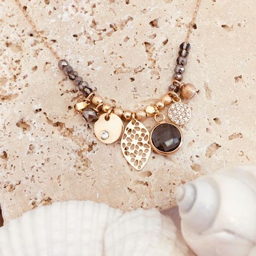 gwapita anna collier sasha gris metalisé breloques perles
