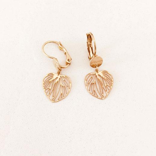 gwapita bijoux monica doré peties fine feuille coeur mini or