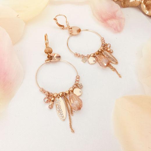 gwapita boucles d'oreilles bijoux création doré  iconiques valentina champagne doré or