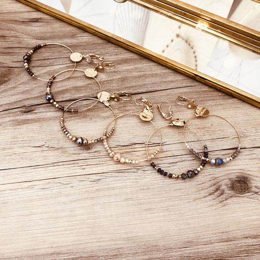 Chloé gwapita boucles d'oreilles rondes perles créoles anneaux doré plaqué or earrings