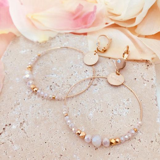 boucles d'oreilles rose opal creoles anneaux fin perles chloé