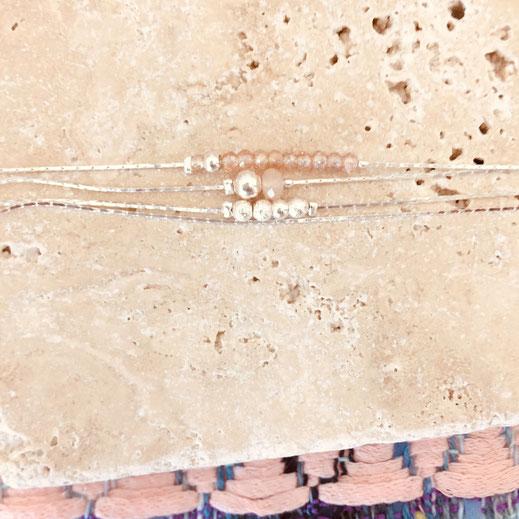 bracelet perles rose gwapita bijoux longues argent argenté