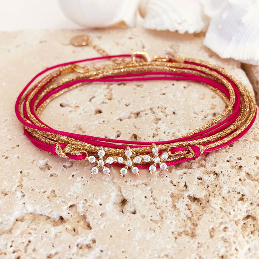 Gwapita bracelet fuschia fushia rose flashy flowers fleurs doré rubans