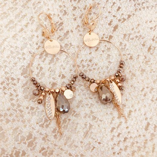gwapita boucles d'oreilles new nouveauté Valentina pyrite ronde breloques charms
