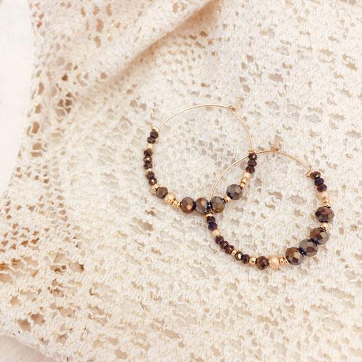 boucles d'oreilles gwapita doré plaqué or creatrice ronde metalic créoles ROMY perles