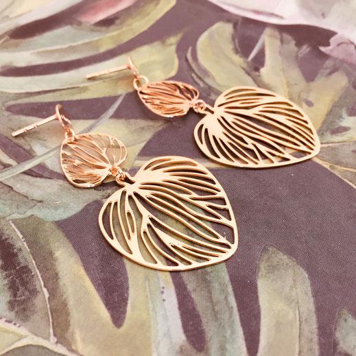 gwapita boucles d'oreilles bijoux création doré  chelsea mini petit feuille coeur filigrane or