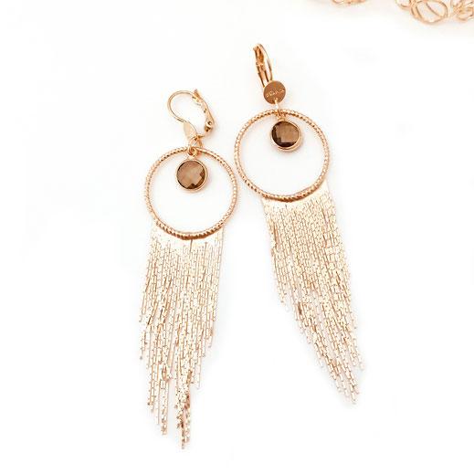 boucles d'oreilles Gwapita bijoux earrings longue salomé pyrite franges femme