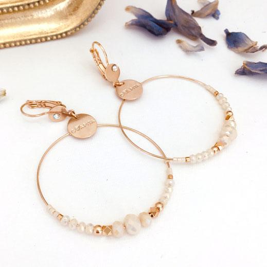 gwapita boucles d'oreilles bijoux femme creoles fine perles doré beige Chloé