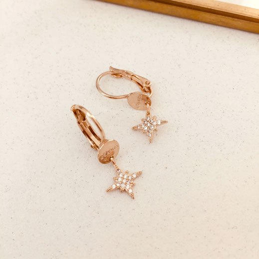 boucles d'oreille etoile gwapita bijoux femme fin doré zirconium diamants