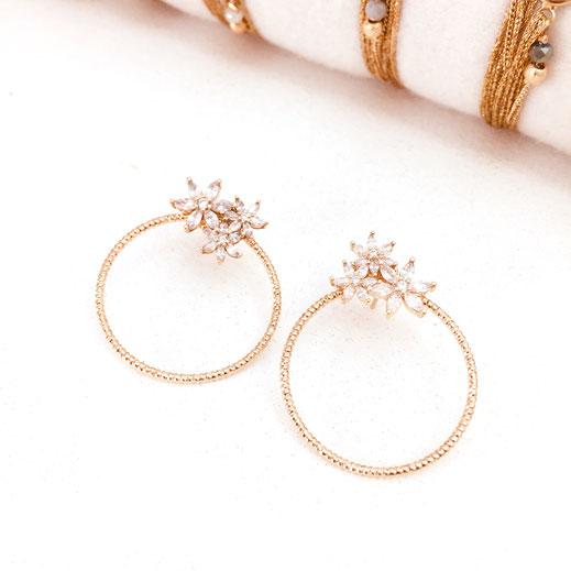 gwapita boucles d'oreilles bijoux création doré joséphine fleur zirconium brillant blanc anneau