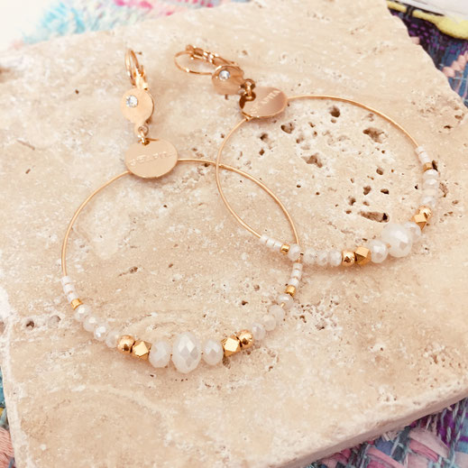 gwapita chloé chloe boucles d'oreilles dorée ronde anneaux perles blanches blanc jewelry femme fin