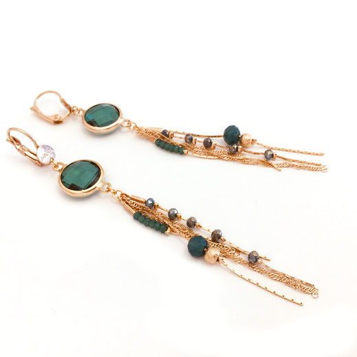 gwapita boucles d'oreilles earrings gloria vert verte bijoux femme longue chaine perles