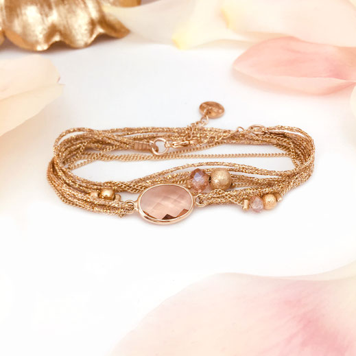 bacelet gwapita jules rose ruban pierre doré