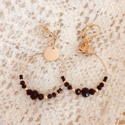 gwapita chloé noir boucles d'oreille créole perles dorées