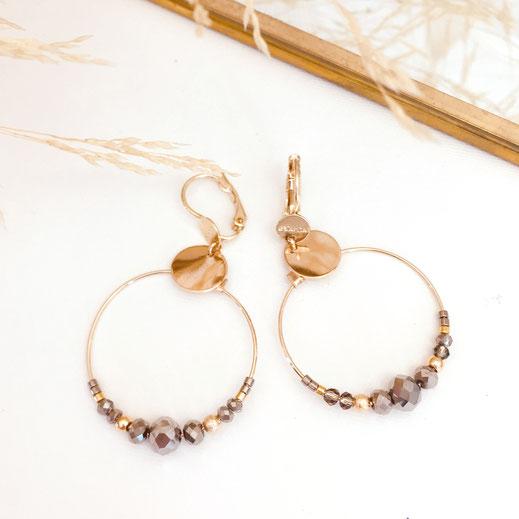 gwapita mini colivia anneaux double deux créoles petites anneaux new boucles d'oreilles doré gold creoles perles