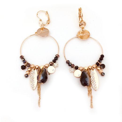 boucles d'oreilles Gwapita Valentina new noir breloques  finesse  perles doré metalic