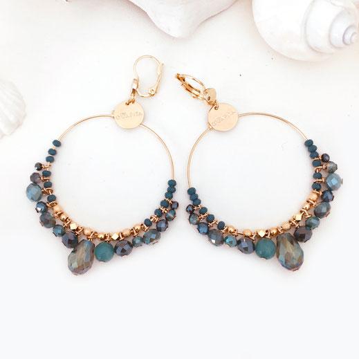 gwapita boucles d'oreilles bijoux création doré  frous frous froufrous bleu océan
